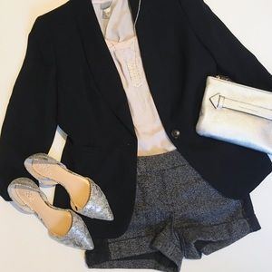 Express Tweed Shorts with Lace Accent